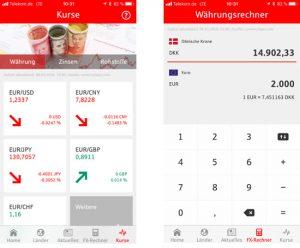 Screenshots der App S-weltweit