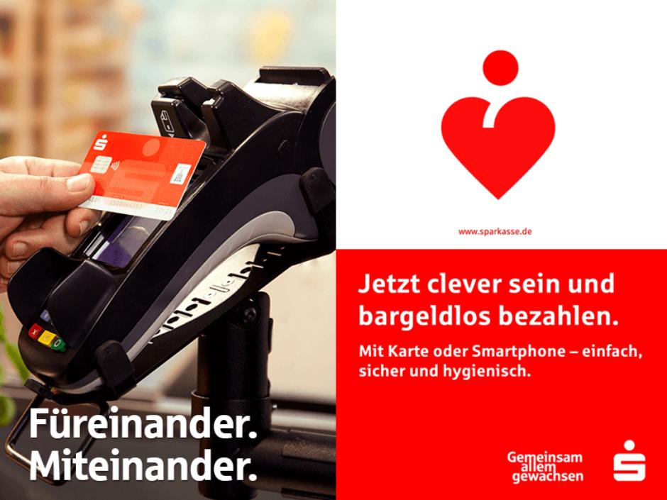 Einfach mal ranhalten. Kontaktloses Bezahlen ohne PIN jetzt bis 50 EUR.